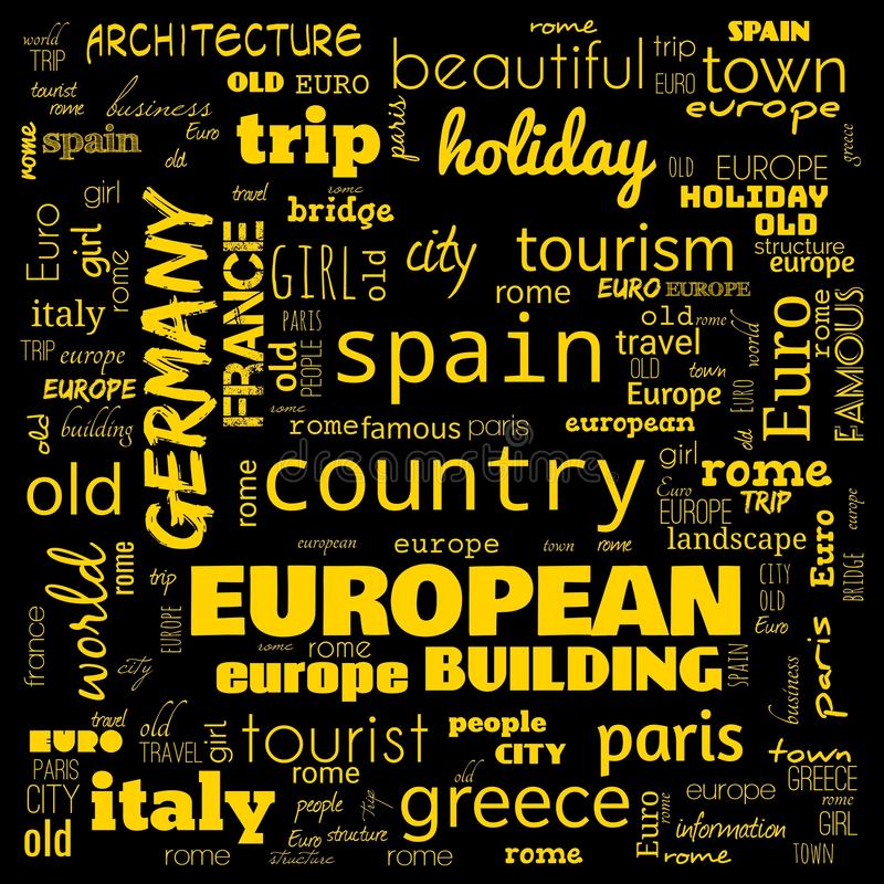 Europe word loud, text,word cloud use for banner, painting, motivation, web-page, website background, t-shirt & shirt printing,. Poster, gritting, wallpaper &# royalty free stock photo