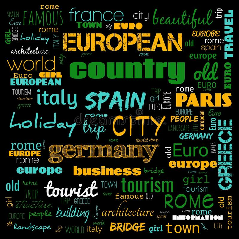 Europe word loud, text,word cloud use for banner, painting, motivation, web-page, website background, t-shirt & shirt printing,. Poster, gritting, wallpaper &# royalty free stock photos