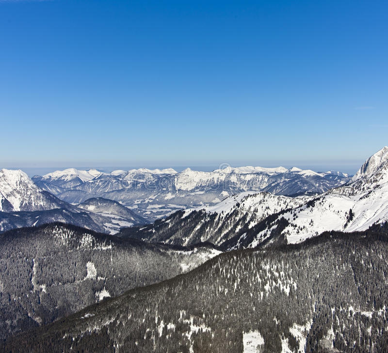 European alps in winter. Arieal view from a hot air ballon above the Dachstein Gebirge of austria from the northern Eastern Alps (Northern Limestone Alps). To royalty free stock images