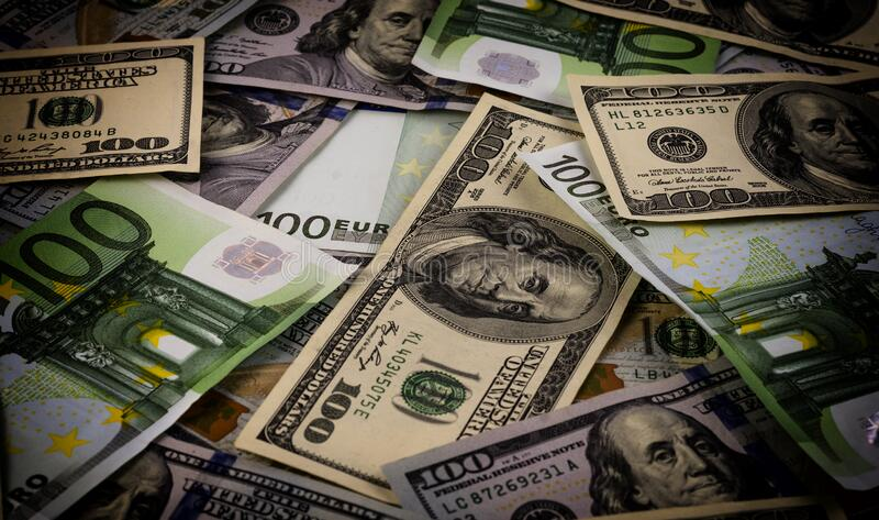 European and American currency, euro versus dollar.  royalty free stock photography