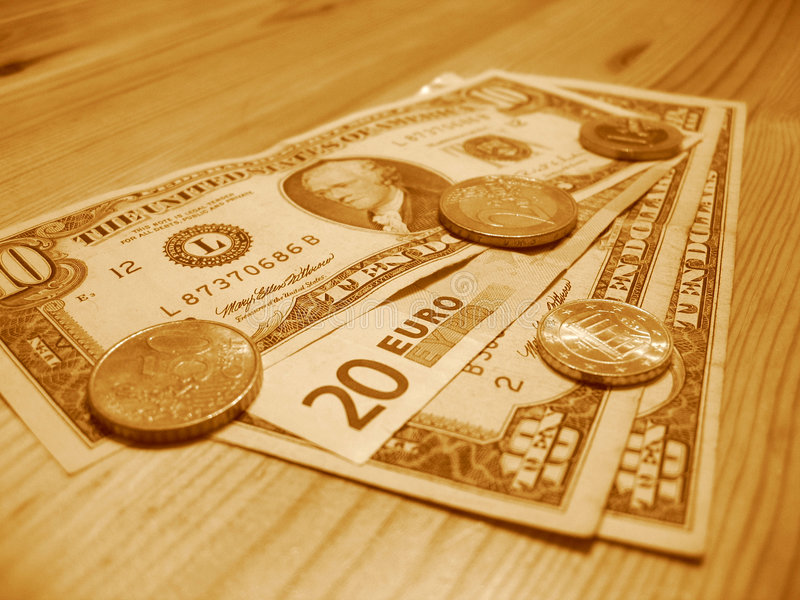 European and American money royalty free stock photos
