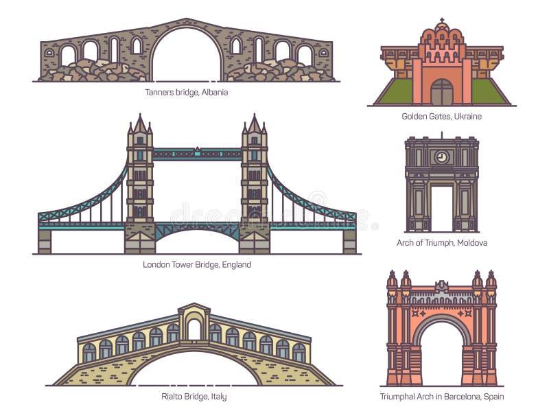 European architecture arc set, arch, bridges, gate. European architecture arc and bridges. Arch of Triumph and Triumphal, Tanners and London tower, Rialto bridge vector illustration
