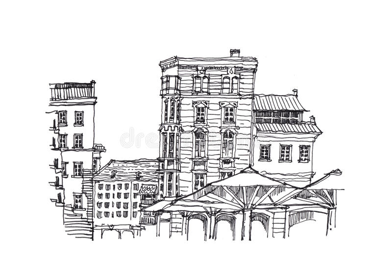Download European Architecture Sketch Doodle Illustration Stock