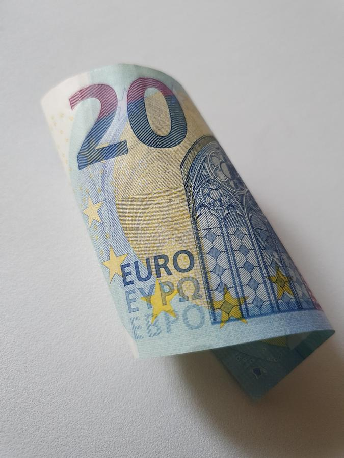 European banknote of twenty euro and white background royalty free stock image