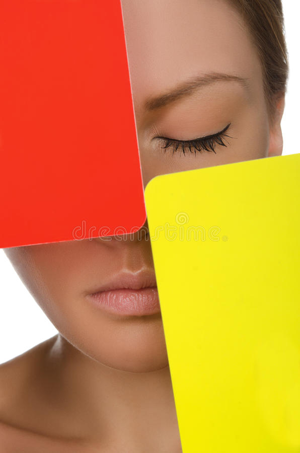 European beautiful woman with red and yellow card stock images