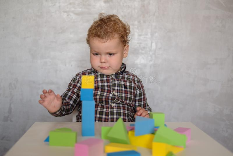 European boy builds a tower of colored blocks stock image
