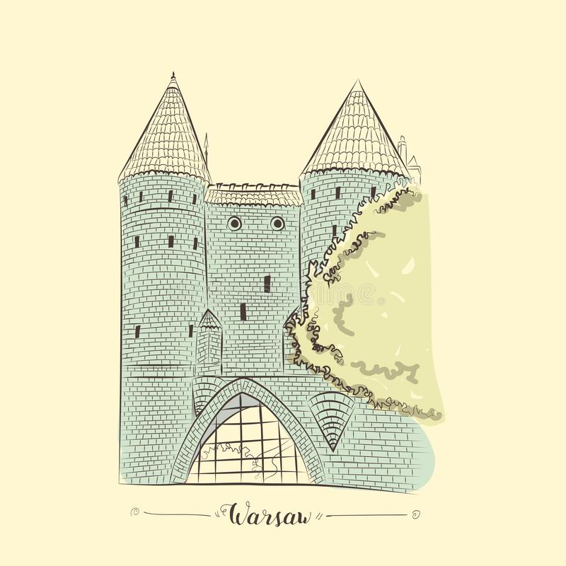 Warsaw fortress in old town hand drawn sketch. European brick castle in Warsaw old town vector vector illustration