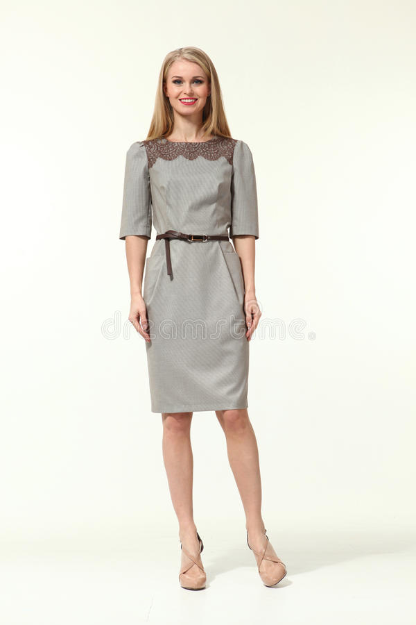 European business woman in official autumn clothes stock photo