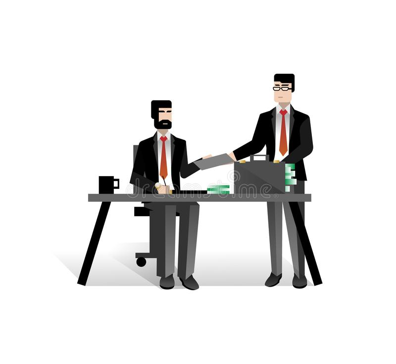European businessmen conclude a contract. In office. Corporate business people isolated vector illustration stock illustration