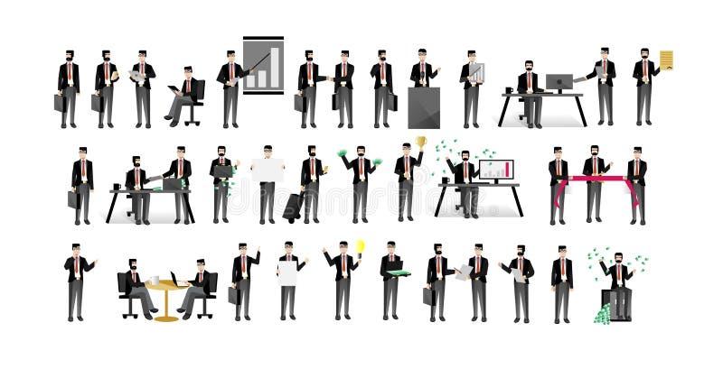 European businessmen isolated big set vector illustration