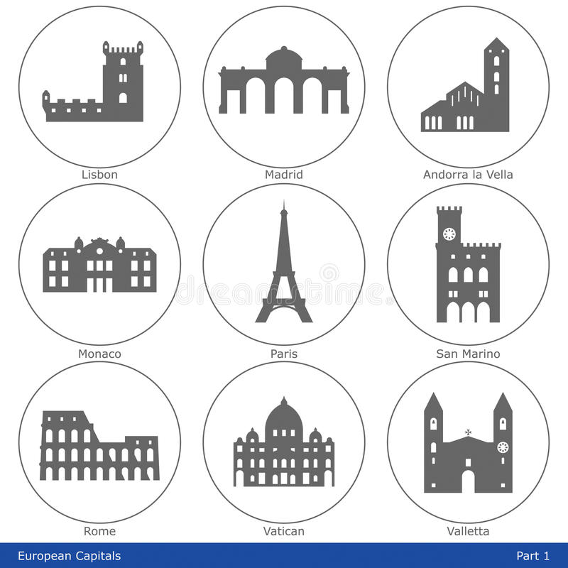 European Capitals - Icon Set (Part 1). European capitals symbolized by their main landmark building stock illustration