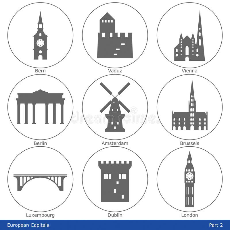 Download European Capitals - Icon Set (Part 2) Stock Vector - Illustration: 35075949