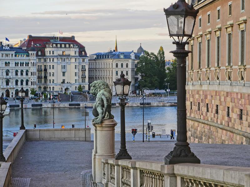 European capitals. Stockholm modern and ancient buildings. European capitals. Panoramic view of modern and hystorical building in Stockholm city. lampposts and royalty free stock photography