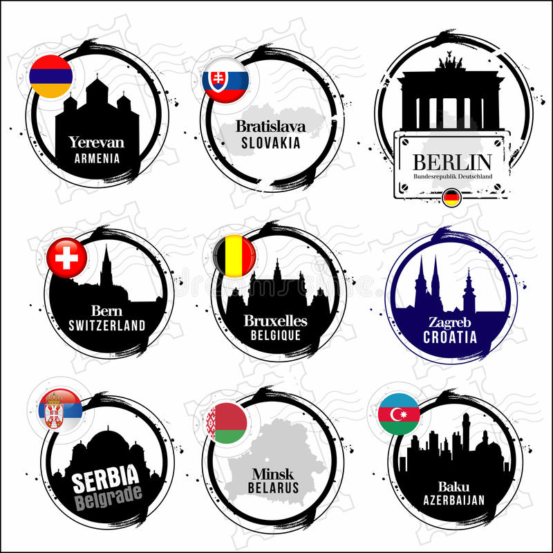 Download European capitals stamps stock photo. Image of entreprise - 28848972