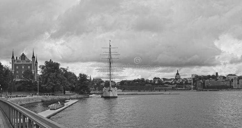 European capitals. Stockholm view with boat and buildings. European capitals. Panoramic view of a modern and ancient  on the sea building in Stockholm city stock image