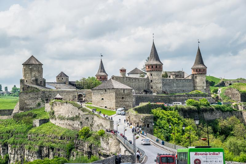 European castle. Beutiful ancient Kamianets-Podilskyi Castle in Ukraine. Fortress built in the early 14th century. It is one of the few medieval constructions in stock images