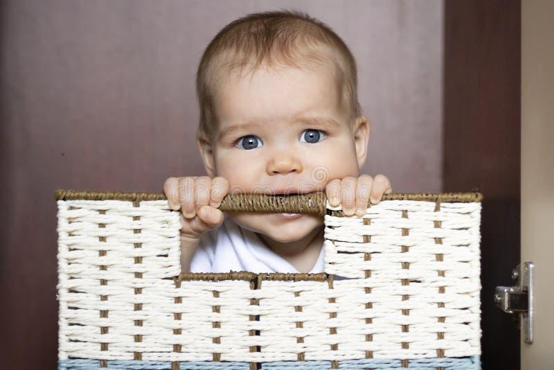 European Caucasian Joyful child, toddler, girl, boy nibbles handle in wicker basket In storage cabinet on dark. Background. Concept of storage in nursery royalty free stock photography