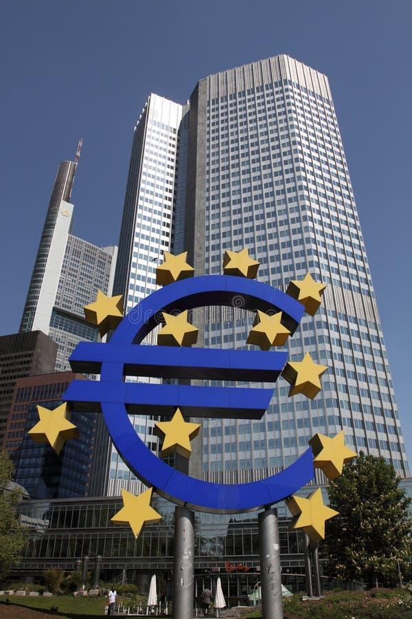 European central bank. The building of european central bank with the sign of EURO currency in front of it stock photos
