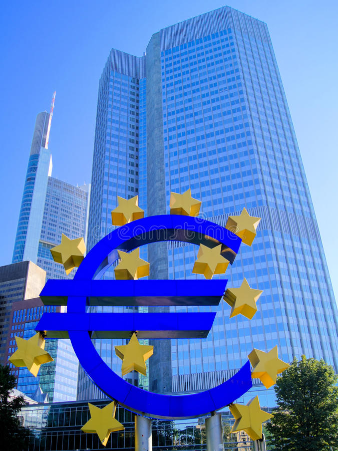 European Central Bank. Euro symbol outside of the European Central Bank in Frankfurt, Germany royalty free stock images