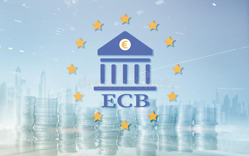 European Central Bank. ECB. Finance, capital banking and investment concept vector illustration