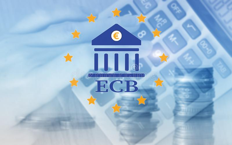 European Central Bank. ECB. Finance, capital banking and investment concept.  stock illustration