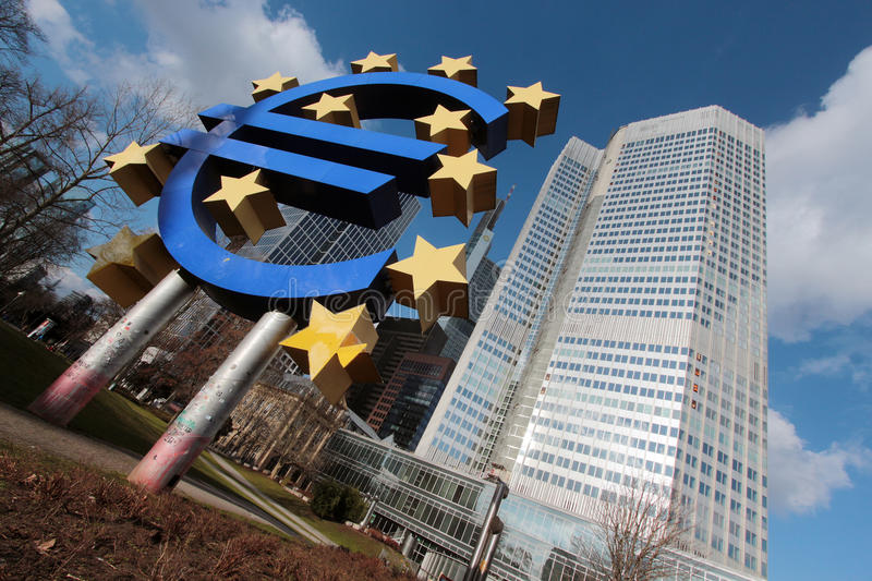 European Central Bank. Euro sign and symbol in from of the European Central Bank in Frankfurt am Main, Germany royalty free stock photography