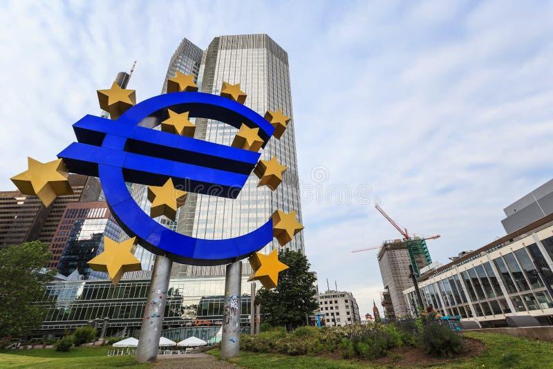 European Central Bank. FRANKFURT, GERMANY - JUNE 14: the Euro sign in front of the European Central Bank (ECB) on JUNE 14, 2013 in Frankfurt Germany stock photography