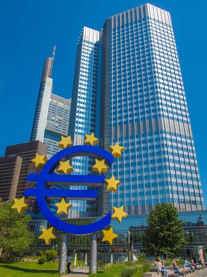 European Central Bank in Frankfurt. FRANKFURT AM MAIN, GERMANY - JUNE 06, 2013: The Europaeische Zentral Bank (European Central Bank) is the central bank for the royalty free stock image