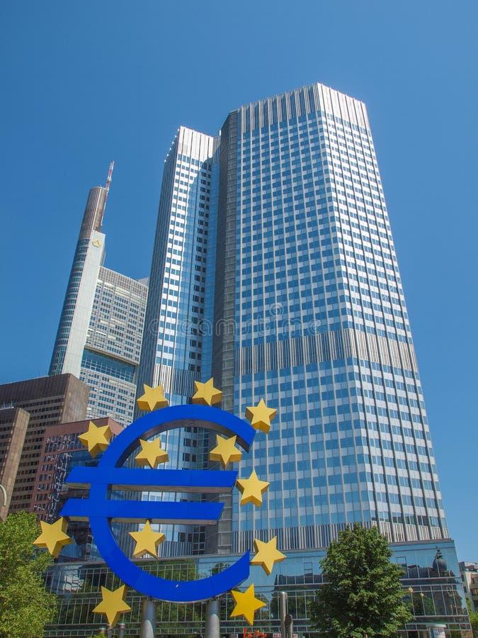 European Central Bank in Frankfurt. FRANKFURT AM MAIN, GERMANY - JUNE 06, 2013: The Europaeische Zentral Bank (European Central Bank) is the central bank for the stock photo