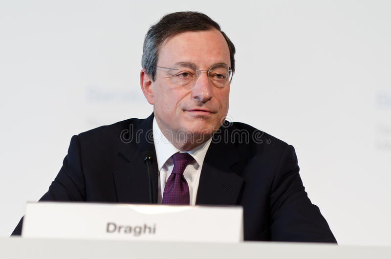European Central Bank President Mario Draghi. Chairs the press conference following the Governing Council meeting of the ECB in Barcelona on May 03, 2012