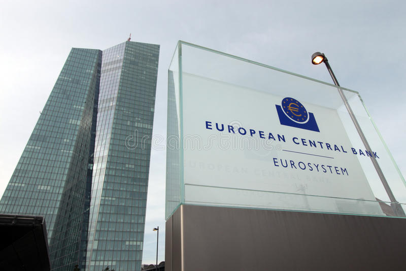 European Central Bank. Sign board for The European Central Bank in Frankfurt, Germany royalty free stock photos