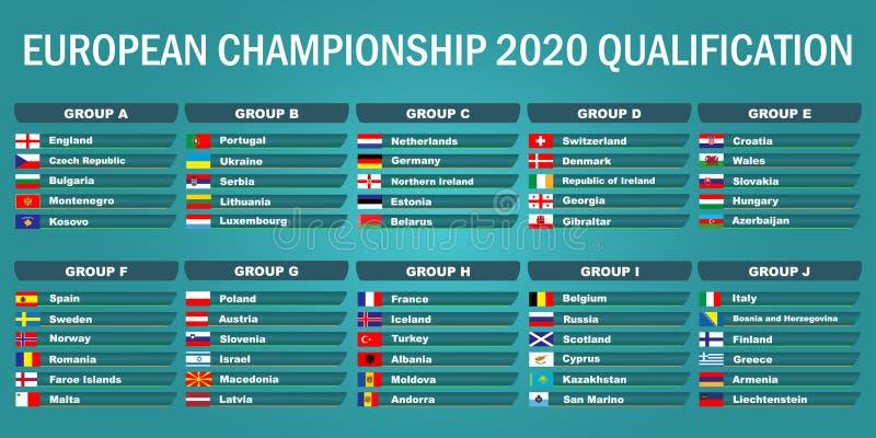 European championship 2020. Qualification stock illustration