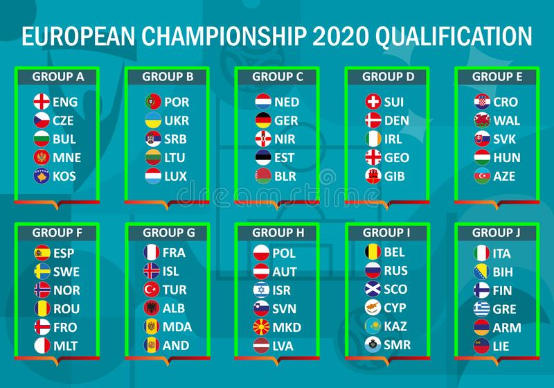 European championship 2020. Qualification royalty free illustration