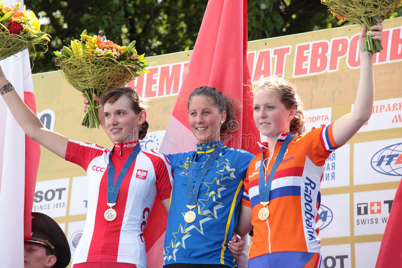 European Championships in mountain bike. MOSCOW, RUSSIA - JUNE 9: Award ceremony in woman's race during the European Mountain Bike Cross-Country Championship in royalty free stock photos