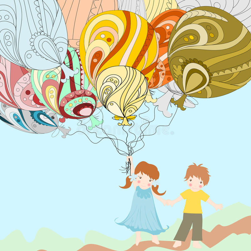 European children are beautiful and hold huge balloons stock illustration