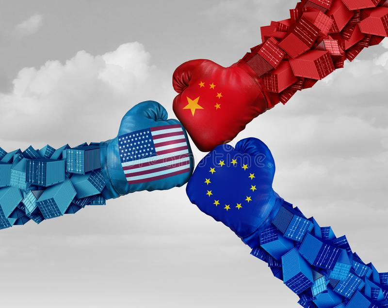 European China And American Trade Fight. And tariff war as a Chinese Europe USA economic problem as cargo containers in conflict as an economic dispute over royalty free illustration