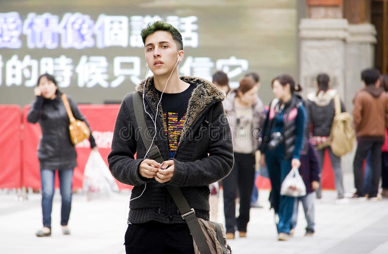 European In Chinese City Editorial Image