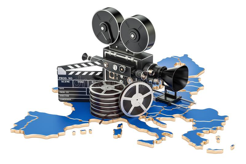 European cinematography, film industry concept. 3D rendering. On white background royalty free illustration