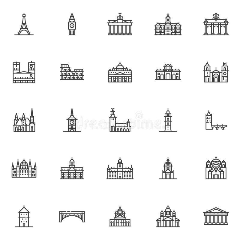 European cities landmarks line icons set vector illustration