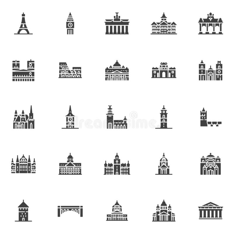 European cities landmarks vector icons set. Modern solid symbol collection, filled style pictogram pack. Signs, logo illustration. Set includes icons as Eiffel vector illustration