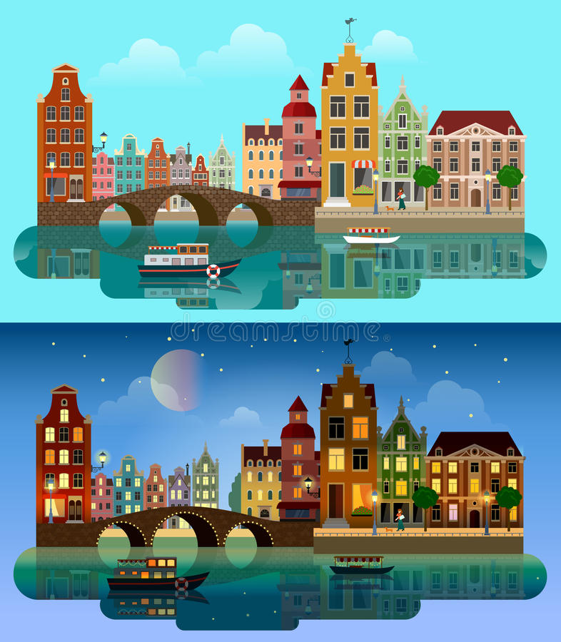 European city flat vector: river canal, bridge, buildings street. Flat cartoon multicolor colorful historic buildings city town suburb set day and sunset night vector illustration