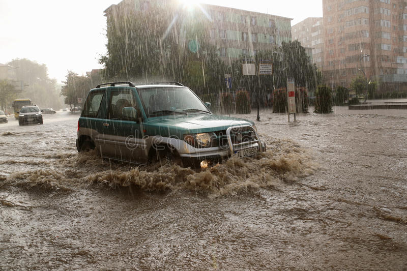 European city flooded during a heavy rain stock images