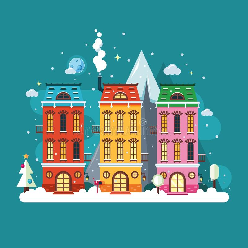 European city house. Urban scene landscape in winter season. Christmas time. Vector cartoon illustration. Flat style royalty free illustration