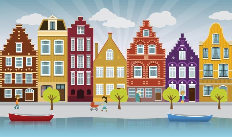 European city illustration. Vector illustration of european city street (Amsterdam vector illustration