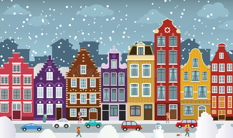 European city illustration. Vector illustration of european city street (Amsterdam stock illustration