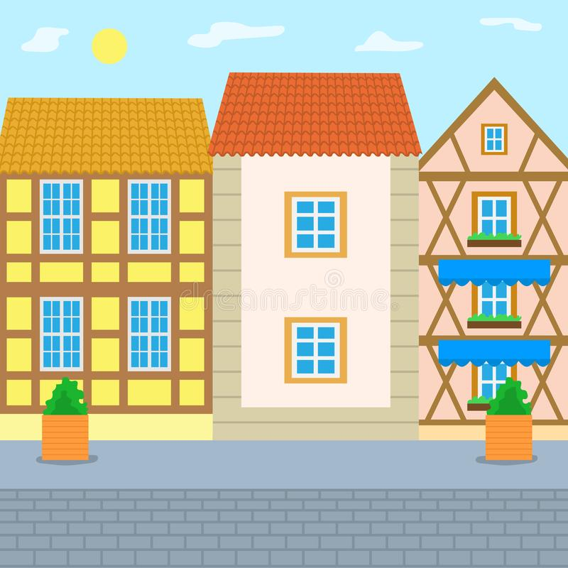 European City Street with Old Vintage Houses Along stock illustration