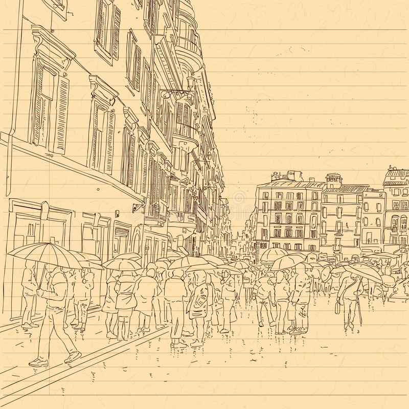 European city street and peoples in hand drawn line sketch style royalty free stock photos