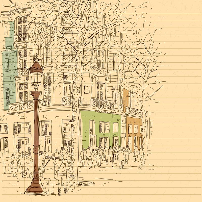 European city street and peoples in hand drawn line sketch style stock photography
