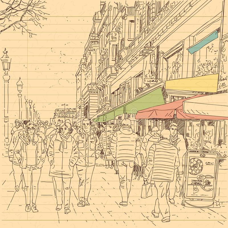 European city street and peoples in hand drawn line sketch style royalty free stock photo
