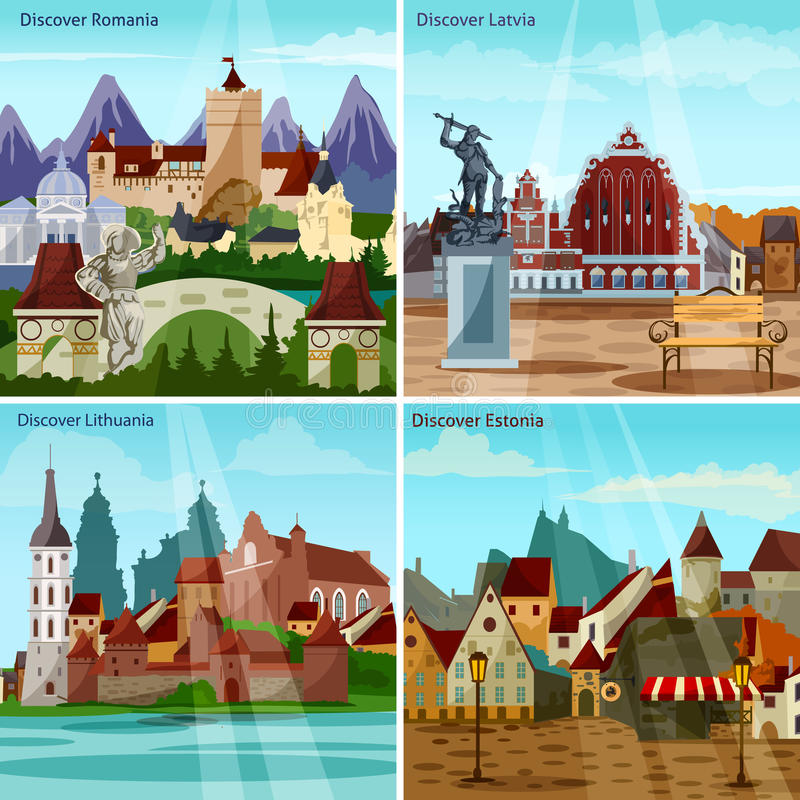 European Cityscapes Concept Icons Set. European Cityscapes Concept. Europe And Sights Vector Illustration. European Cities Flat Icons Set. European Countries royalty free illustration